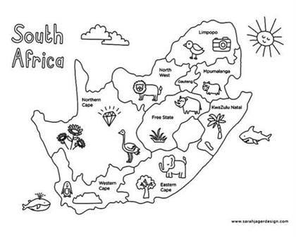 South African Provinces Colouring Page by Sarah Ja