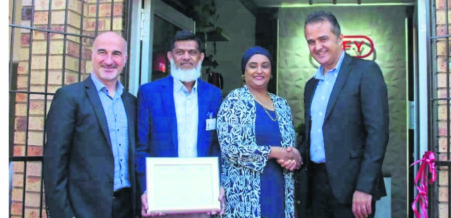 PHOTO: suppliedOpening the Defy Authorised Service Centre in Pietermaritzburg in partnership with Tastech company are (from left) Semih Gurel- Defy national service manager, Imraan Jeewa- Tastech technician, Ayesha Jeewa- director of Tastech) and Evren Albas- CEO of Defy South Africa.
