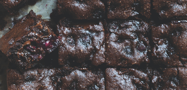 Gluten-free almond and blueberry brownies