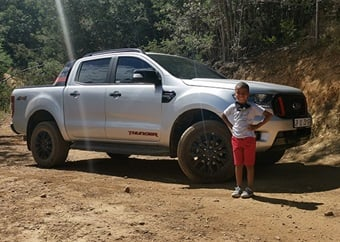 Making a little boy's Christmas dream come true with a 4x4 drive in a Ford Ranger Thunder