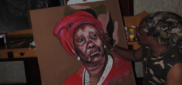 Rasta's painting of Minister of defence and military veterans Nosiviwe Mapisa-Nqakula
