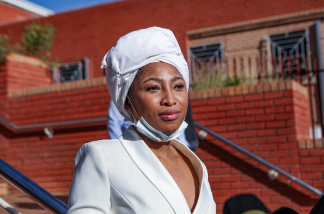 Enhle Mbali appears at Randburg Magistrate's Court on April 12, 2021. (Photo by Gallo Images/Sharon Seretlo)