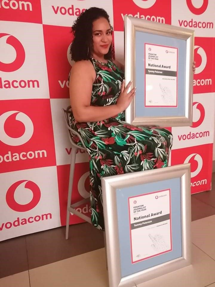 News24 journalist Tammy Petersen with her Vodacom Journalist of the Year Award which she won on Thursday evening. (News24)