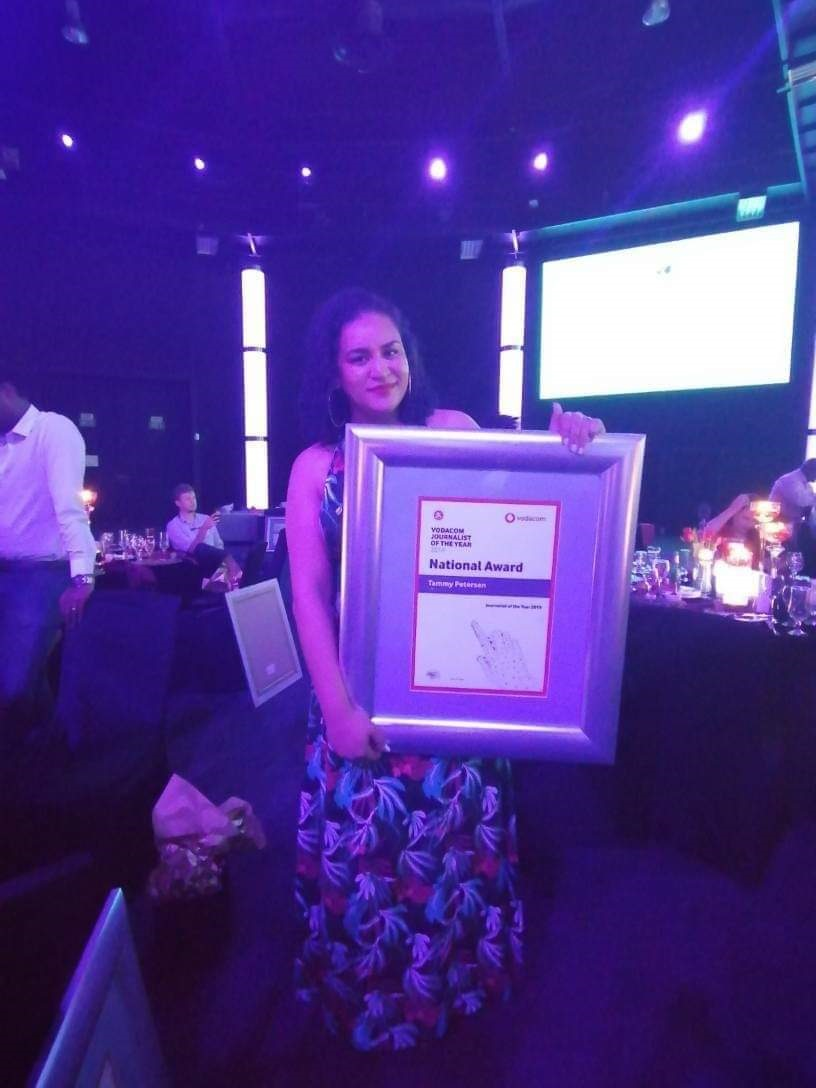 News24 journalist Tammy Petersen with her award at the Vodacom Journalist of the Year ceremony in Johannesburg. (News24)