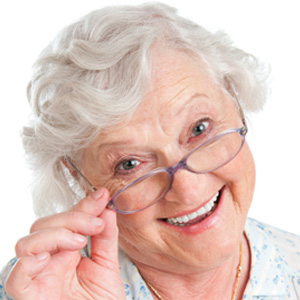 Happy senior woman with glasses