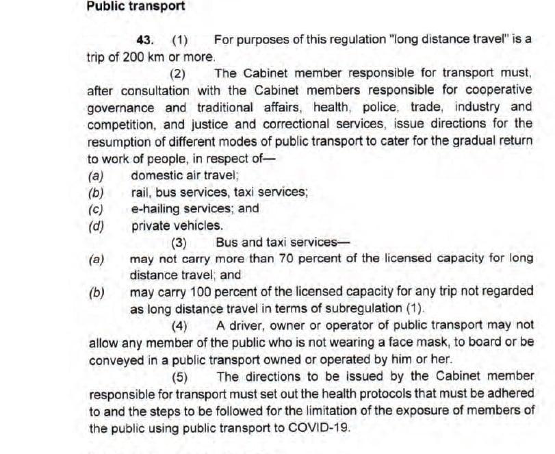 Level 3 public transport restrictions