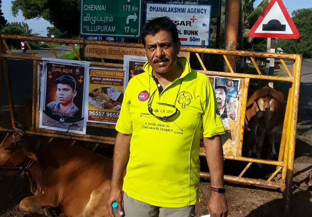Retired project engineer, Bala Gangiah (58) trekked over 550km in India raising nearly R400k for a Durban charity.