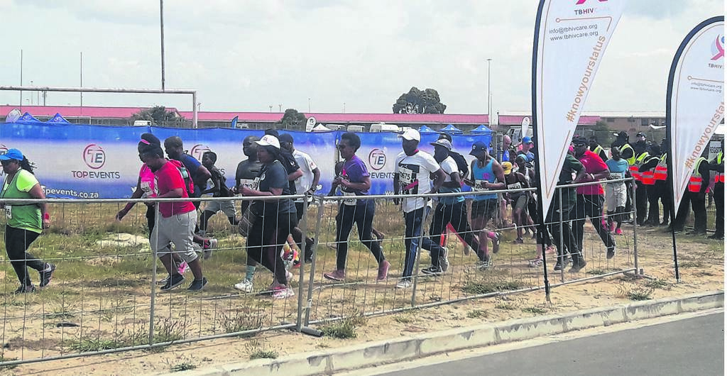 Athletes running in the 5km fun run are here seen leaving the starting point at Luhlaza High School. PHOTO: UNATHI OBOSE