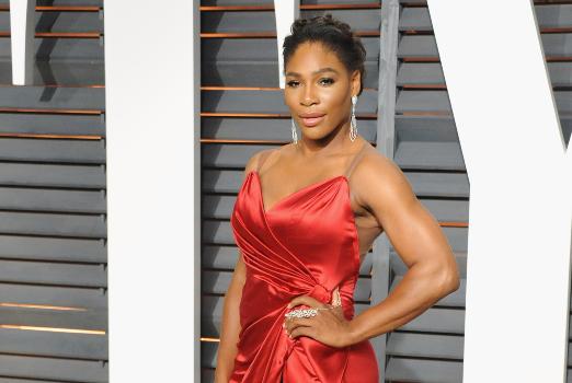 Serena Williams at the 2015 Vanity Fair Oscar Party. Photographed by Jon Kopaloff