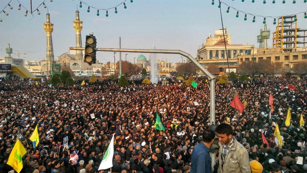 Iranians gather in the northeastern city of Mashhad on January 5, 2020 to pay homage to slain major general Qasem Soleimani, after he was killed in a US strike in Baghdad. (Mohammad Rajabian, Iran's Fars News Agency, AFP)