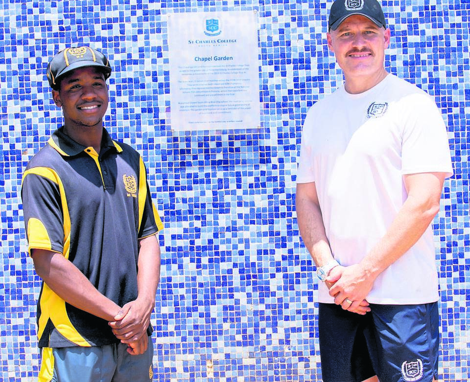 At the official opening of the St Charles Chapel Garden is (from left) Wessly Madhevere [2019 first XI captain] with cricket specialist Morne van Wyk.PHOTO: Tayla Peyton