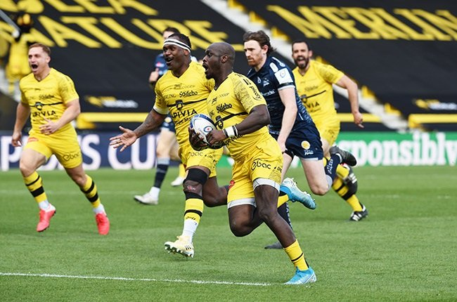 Raymond Rhule in action for La Rochelle in the Champions Cup.  (Photo by Lionel Hahn/Getty Images)
