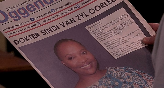 The news of Dr Sindi's death on the cover of the O