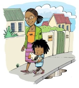 Illustration of mom and daughter walking down the