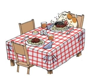 Illustration of dog eating at a table