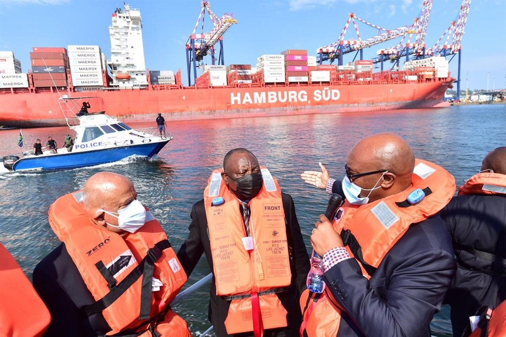 President Cyril Ramaphosa during his oversight visit of the Durban Port.