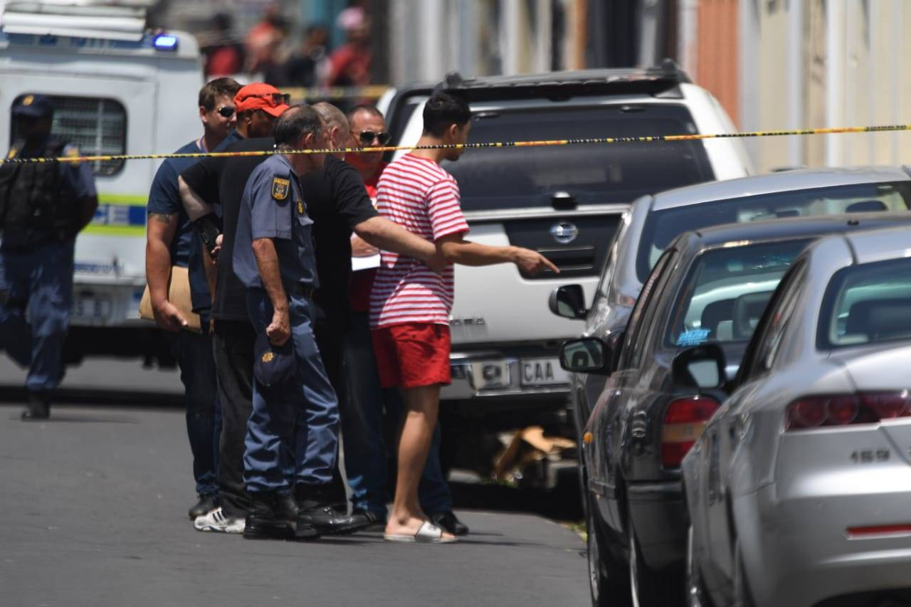 Family members of Rashied Staggie are seen after he was shot dead. (Jaco Marais, file)