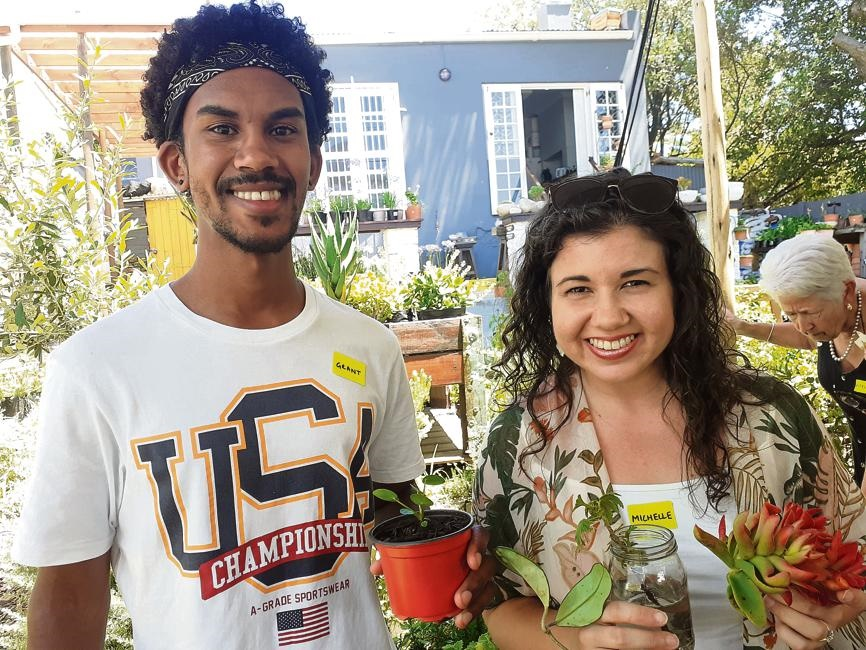 Grant Davids and Michelle Lenk at the plant swap event held in Gardens.