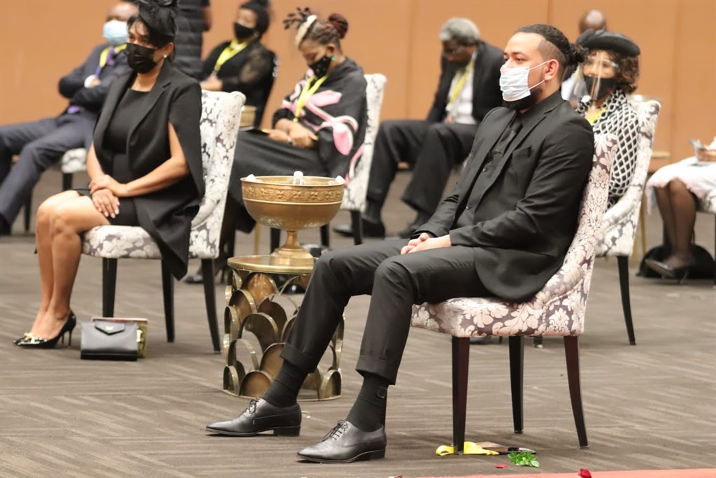 Kiernan 'AKA' Forbes and his mother, Lynn Forbes at Anele 'Nelli' Tembe's funeral on 16 April 2021 at the Durban International Convention Centre. Image: TRUELOVE