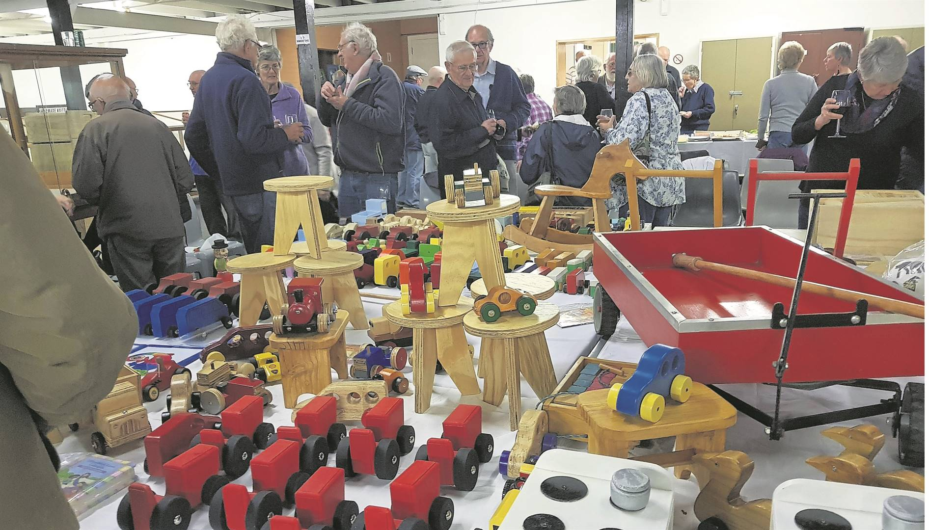Members of the Midlands Woodworkers' Guild with the toys that were donated to the two charities recently. photo: supplied