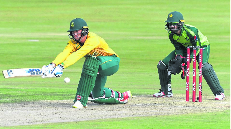 Rassie van der Dussen of South Africa plays a shot during the fourth and final KFC T20 International match between South Africa and Pakistan at SuperSport Park in Pretoria on Friday.