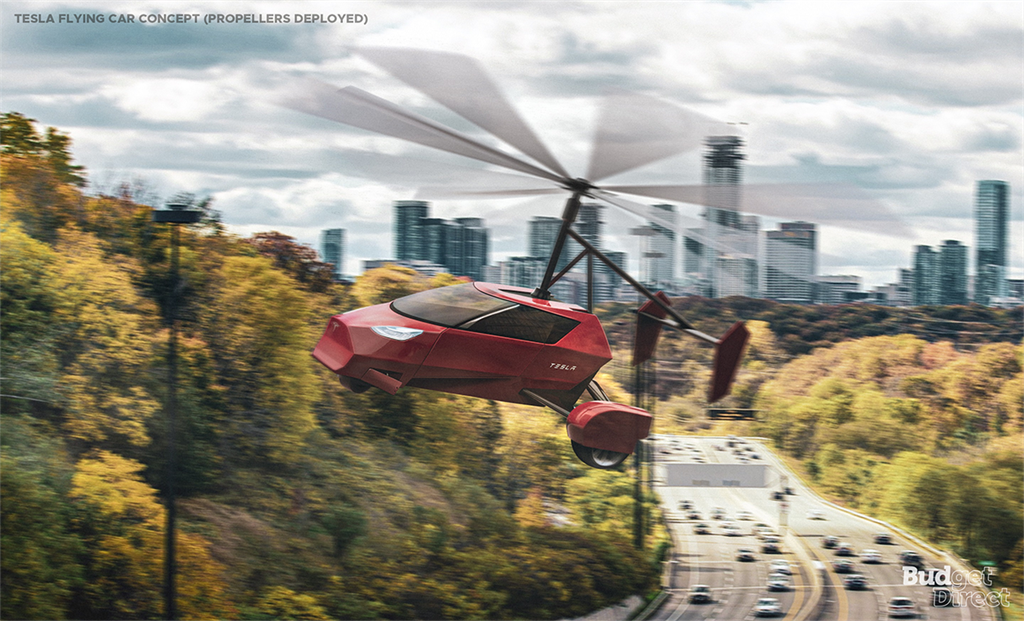 tesla flying car