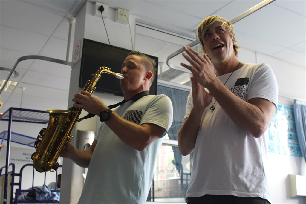David Poole and Dominic Peters from Goldfish shared some Christmas cheer at the Red Cross War Memorial Children's Hospital on Wednesday 18 December.