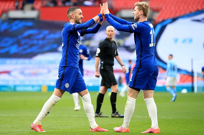 Chelsea's Hakim Ziyech (left) celebrates with team-mate Timo Werner after scoring against Manchester City at Wembley Stadium. (Photo by Adam Davy/PA Images via Getty Images)