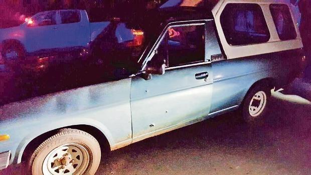 The bullet-ridden bakkie used by Siyabonga Ndlovu and his gang.