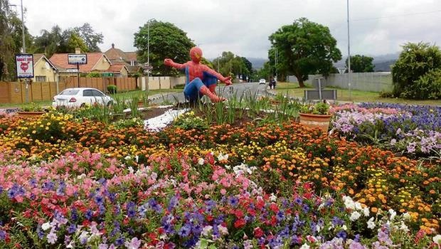 The statue of Spider-Man in the flower bed near the Golden Horse Casino.
