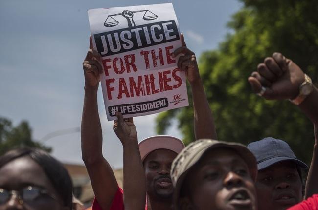 Protests during the testimony of former Gauteng Health MEC Qedani Mahlangu at the Life Esidimeni arbitration hearings on 22 January 2018 in Johannesburg.