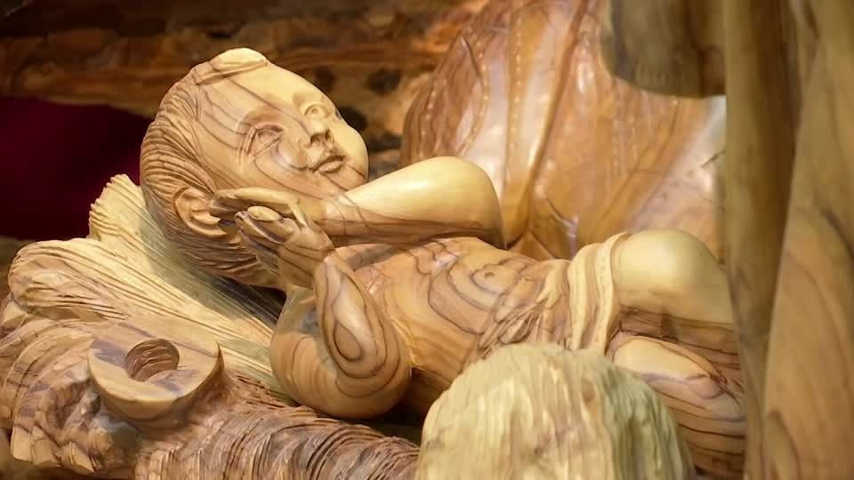 Nativity scenes made from trees that are more than 2000 years old. (Reuters screen grab)