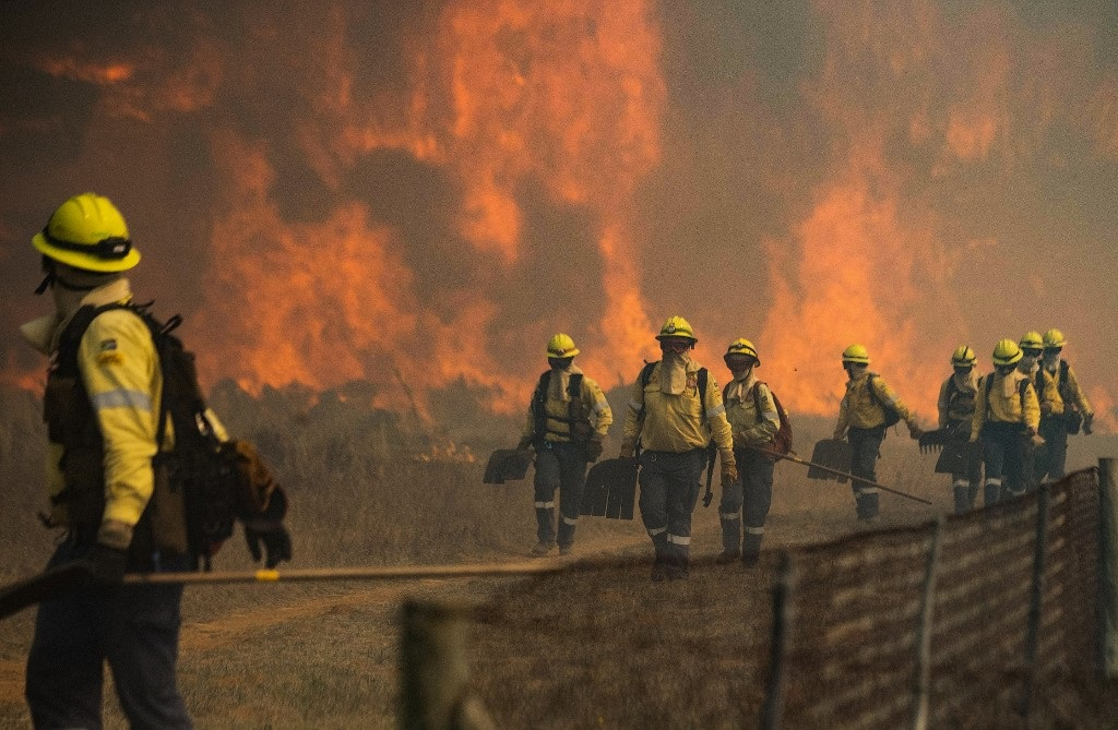 Firefighters leave an area where the flames became too aggressive, as a forest fire burns out of control on the foothills of Table Mountain.