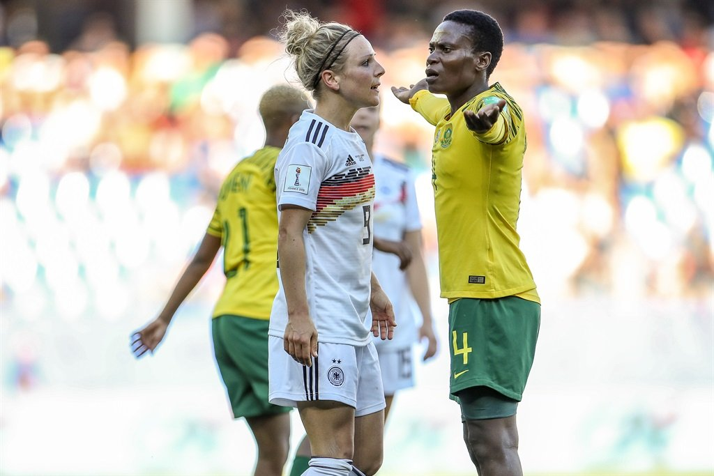 Svenja Huth of Germany argues with Noko Matlou of South Africa during the 2019 FIFA Women's World Cup in France. Picture: Maja Hitij/Getty Images