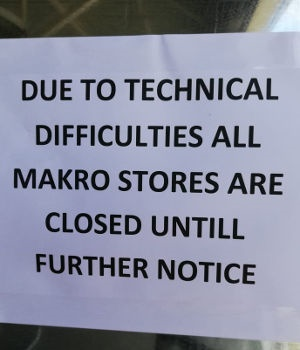 A sign outside a Makro store in the Western Cape o