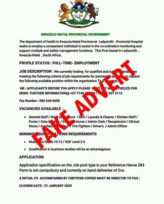 Fake ad offering employment at Ladysmith Provincial hospital. (Supplied)