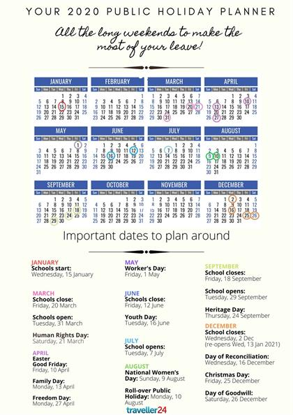 All the public holidays and long weekends to take