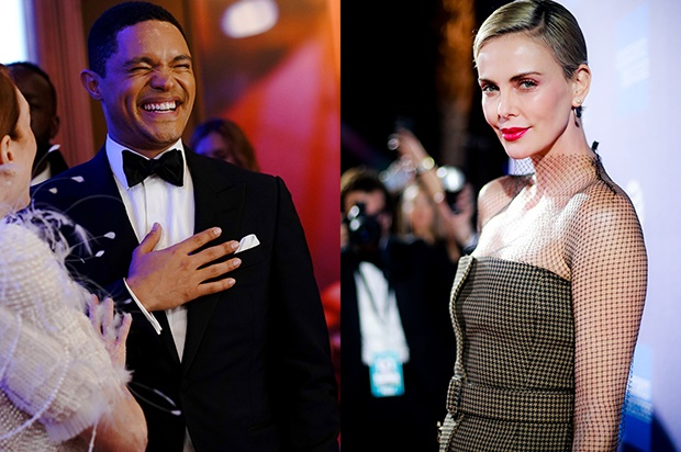 Trevor Noah and Charlize Theron. (Photo: Getty Images)