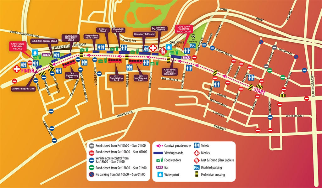 map of Cape Town carnival