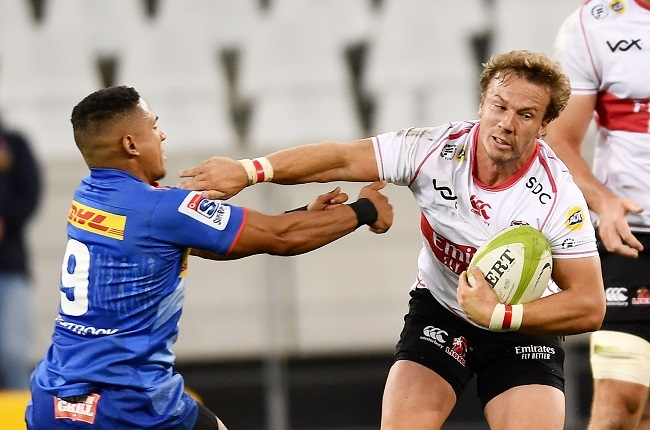 CAPE TOWN, SOUTH AFRICA - MARCH 27: Fred Zeilinga of the Lions and Herschel Jantjies of the Stormers during the SA Rugby Preparation Series match between DHL Stormers and Emirates Lions at Cape Town Stadium on March 27, 2021 in Cape Town, South Africa. (Photo by Ashley Vlotman/Gallo Images)