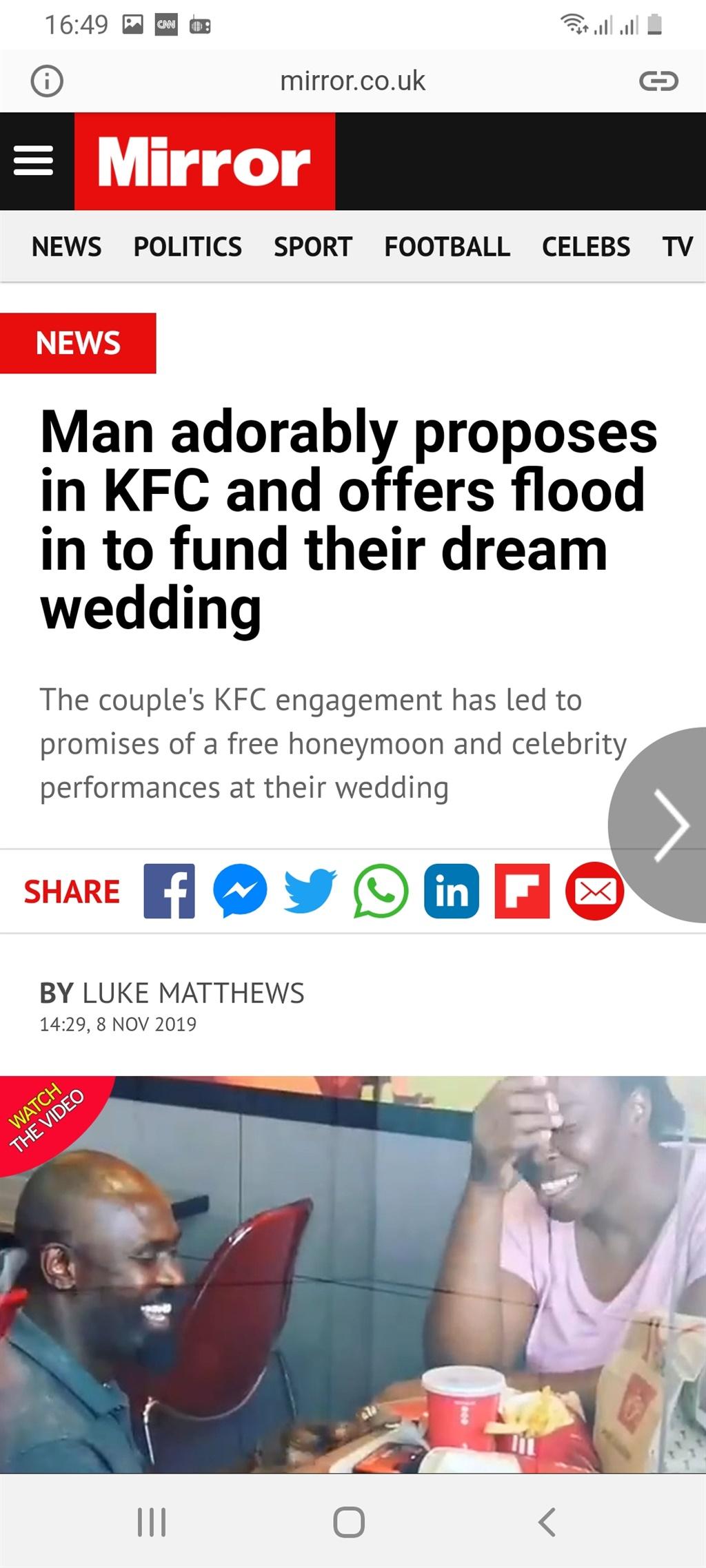 #kfcwedding, England, marriage