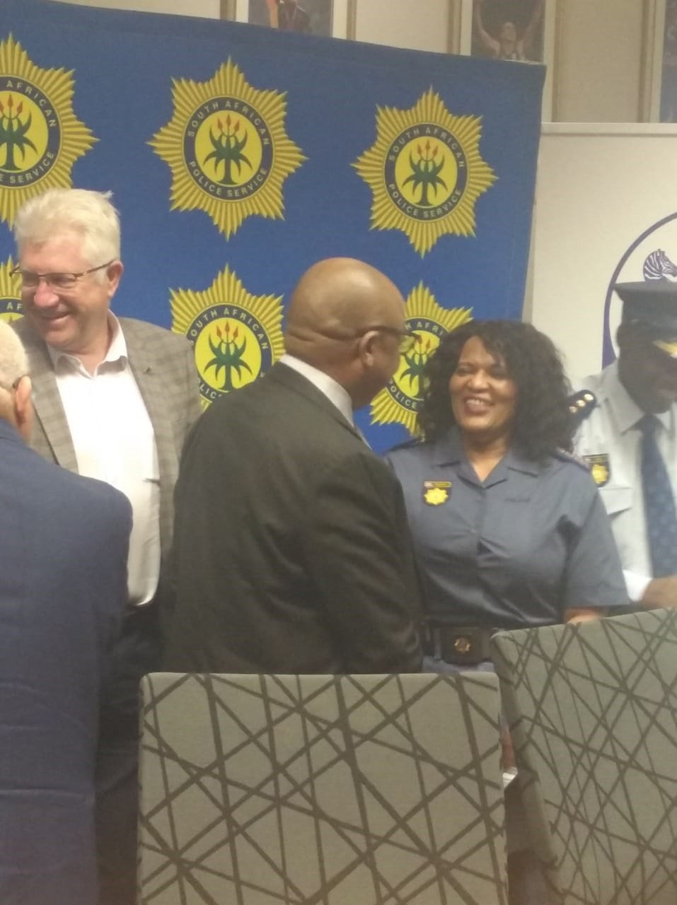 Western Cape police commissioner, Lt General Yolisa Matakata (right) with Premier Alan Winde and Deputy Police Minister Cassel Mathale. (Jenna Etheridge, News24)