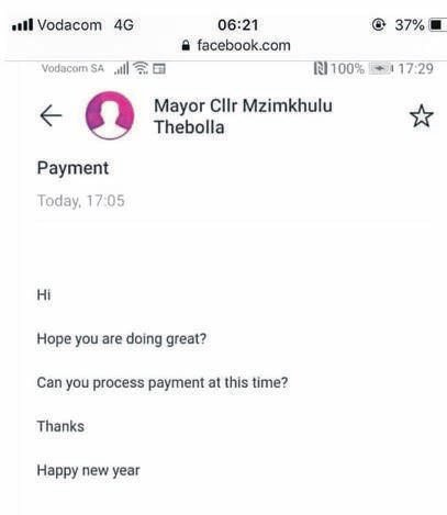 PHOTO: facebookA screenshot of an e-mail that was sent by someone claiming to be Msunduzi mayor Mzimkhulu Thebolla.