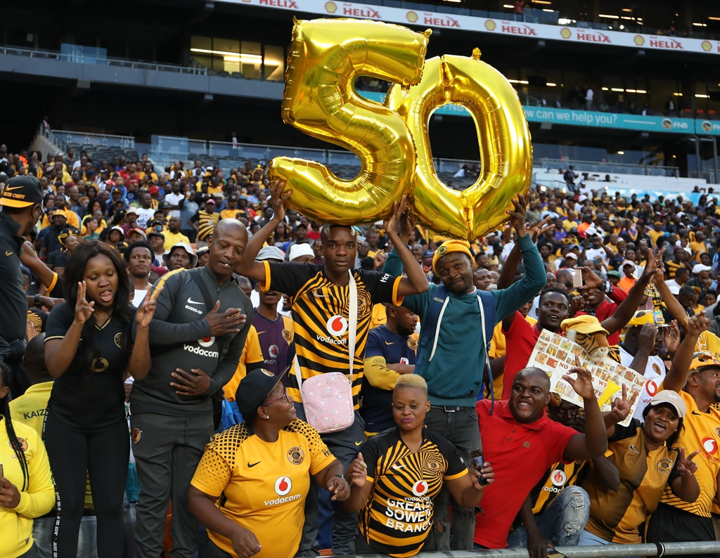 Kaizer Chiefs fans in celebratory mode as the club celebrates its 50th birthday. Picture: Sydney Seshibedi/Gallo Images