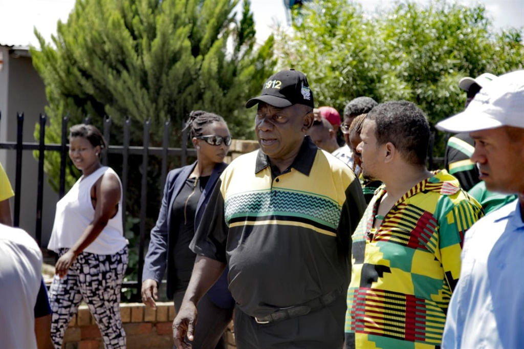 President Cyril Ramaphosa during a door-to-door trail in Colville-Floors. Picture: @MyANC/Twitter