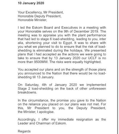 Jabu Mabuza Eskom letter