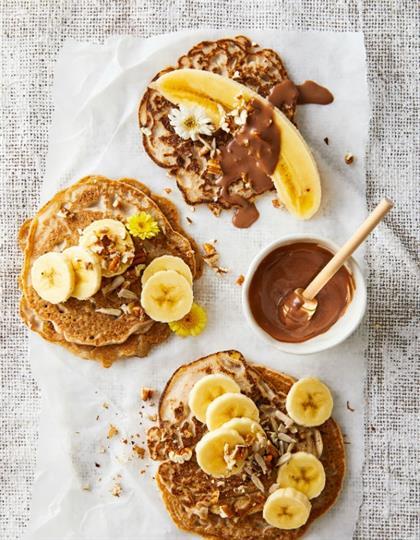 banana pancakes with chocolate and espresso sauce