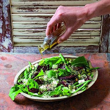 Groenboonslaai met oondgeroosterde beet. Foto: Van