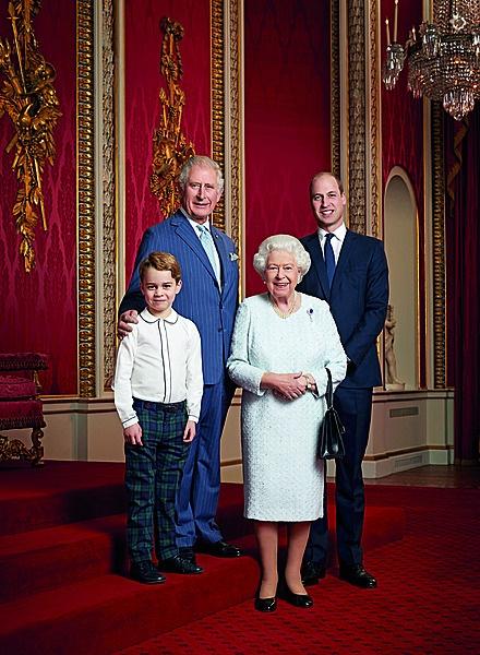 'n Portret van die koningin en die volgende drie a