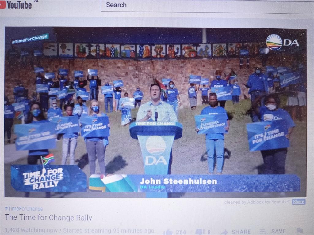 DA leader John Steenhuisen addressing the DA's virtual rally. (Screen grab)